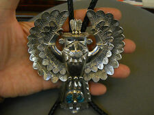 "Turquoise sterling silver eagle dancer bolo tie 5 7/8"" x 4 1/2""  signed H.BOYD"