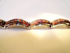 "TRUE RED Glowing Fire Opal Linked Bracelet 9"" X XL Large Sterling Silver 925"