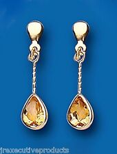 9ct Yellow Gold 24 x 6mm Real Citrine Drop Earrings Hallmarked British Made