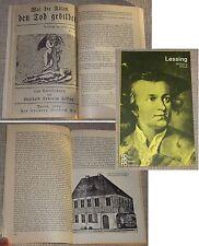 Wolfgang Drews LESSING in Selbstzeugnissen und Bilddokumenten rororo 1966
