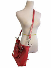 New Coach Madison Patent Leather Charm Tote Crossbody Handbag  Pink Red Salmon