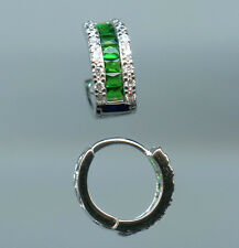 925 SILVER, CZ & LAB CREATED EMERALD HUGGIE HOOP EARRINGS