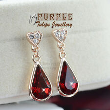 18CT Rose Gold GP Elegant Ruby Waterdrop Stud Earrings W/ Swarovski Crystals