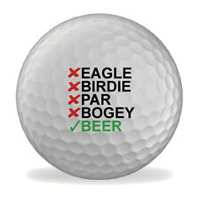 Eagle Birdie Beer Funny 6 X Printed Novelty Golf Balls