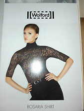 WOLFORD ROSARIA SHIRT, LACE TOP, XSMALL, 8-10  BLACK, New in box
