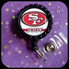 Personalized 49ers Bottle Cap Name SAN FRANCISCO ID Work Badge Reel RN Clip CNA