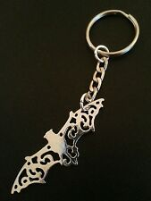New Bright Silver Tone Metal Bat Shape Keyring Keychain Bag Charm