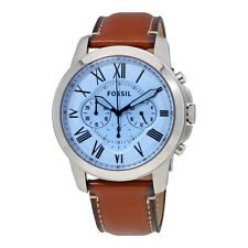 **NEW** MENS FOSSIL GRANT BLUE CHRONO BROWN LEATHER WATCH - FS5184 - RRP £119