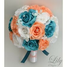 17 Piece Package Silk Flower Wedding Bridal Bouquet TEAL BLUE BLUSH PEACH Robin
