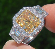 2.97Ct Halo Canary Cushion Cut & Trapezoid Diamond Plat Engagement Ring SI2 GIA