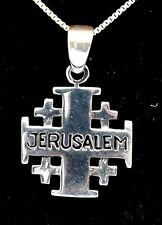Jerusalem Christian Cross Pendant Sterling Silver 925.