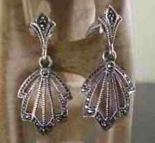 STUNNING Sterling Silver and MARCASITE Art Deco Style Drop Earrings
