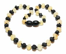 Genuine Raw Baltic Amber Baby Necklace Beads Light Honey Black 11.8 - 12.6 in