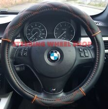 SEAT LEON STEERING WHEEL COVER BLACK  ORANGE STITCHING TOP QUALITY  05110