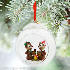 2015 Disney Store Chip 'n Dale Sketchbook Ornament and Nutty Noel Glass Globe &
