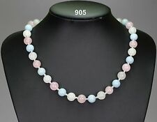 Pastel stone necklace rose quartz, white jade & pale aquamarine, silver spacers