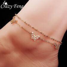 Women Gold Plated Fashion Foot Feet Bracelets Butterfly Ankle Chain Leg Jewelry