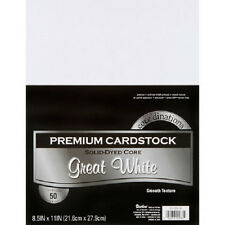 "Premium Smooth 8.5"" x 11"" Cardstock 50 Sheet Pack - Great White"