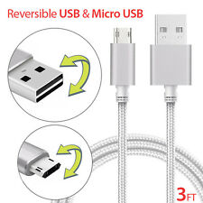 1M Heavy Duty Double Sided Reversible Micro USB Data Sync Charger Cable Cord Lot