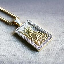 Iced Out Gold Hip Hop Statue Of Liberty Pendant Piece And Chain