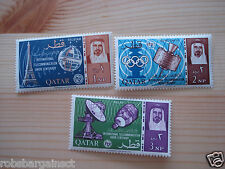 Lot of 3 Qatar 1965 61-3 Space Achievements Postage Stamps