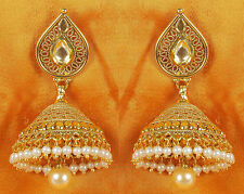 7104 Indian Bollywood Style Cutest Pearl Beaded Bali Polki Earring Jewelry Set