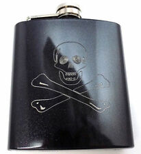 Jolly Roger Skull Cross Pirate Engraved 6oz Glitter Hip Flask Liquor FEN-0020