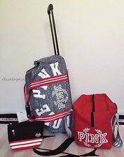 Victoria's Secret Pink 3PC Luggage Red White Black Gray Marl Suitcase Travel Set