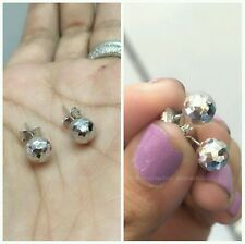 14k ITALY WHITE GOLD EARRING BALL 1.0g