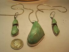 Navajo Sterling Silver turquoise matching Neclace pendant earrings R C artisan