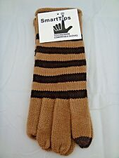 Touch screen gloves beige brown stripes texting smart phone one size
