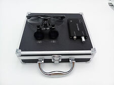 New 3.5x 420mm Surgical Binocular Loupes +Head Light Lamp +Aluminum Box(Black)