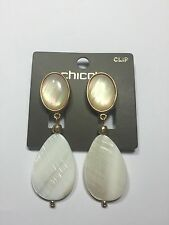 CHICO'S CLIP ON EARRINGS ~ CHICO'S AAREN WHITE SHELL EARRINGS NWT $29.00