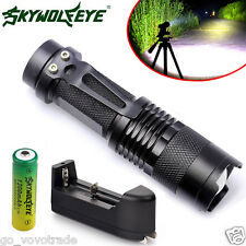 Zoom CREE Q5 2000LM Mini LED Flashlight Focus Torch Light+14500 Battery+Charger