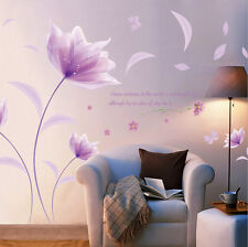Romantic Purple Fairy Flowers Removable Wall Sticker Art Mural Decal Room Decor