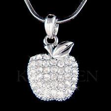 w Swarovski Crystal ~JUICY APPLE Fruit Charm pendant Chain Necklace Xmas Jewelry