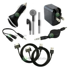 "7 pc Kit Black USB Cable+Car+Wall AC Charger for Samsung Galaxy Note 2 7.0"" 10.1"
