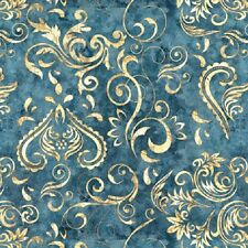 Unbridled cotton quilt fabric BTY Quilting Treasures Scroll Design on Blue