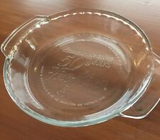 """FIRE KING 50 Years Anniversary Clear Glass Deep Dish 9"""" Pie Baking Plate"""