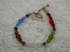 Blue Gold Opalescent Green Red Crystal Bead Bracelet (B41)