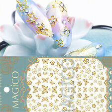 1 Pc 3D Nail Art Sticker Gold Sakura Butterfly Theme Manicure Decal Decor Tips