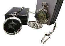 PENTAGRAM Pocket Watch Luxury Case Wiccan Pagan Gothic With Chain in Gift Case