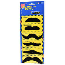 6pc Costume Party Halloween Fake Mustache Moustache Funny Fake Beard Whisker QWC