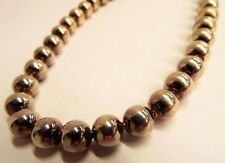 """Nice 17"""" Vintage American Made Necklace w/ Large Round Sterling Silver Beads 64g"""
