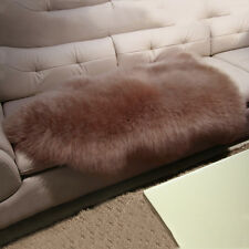 Real Genuine Single One Pelt Sheepskin Wool carpet 2x3 Rug Mats bean sand color