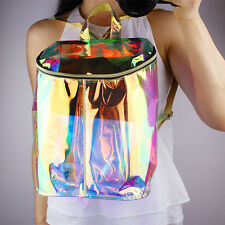 New Women Fashion Hologram Backpack Clear Transparent Strap Holographic Book Bag