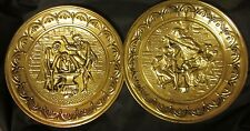 """VINTAGE METAL 2 RELIEF WALL HANGINGS Stamped Brass Medieval Made in England 10"""""""