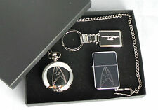 Star Trek Starfleet Logo Gift Set Silver Plated Pocket Watch Keyring Lighter