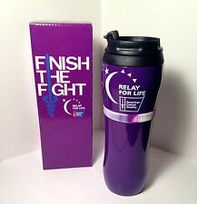 Relay For Life Insulated Travel Mug with Silicone Bracelet Finish the Fight NIB