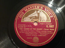 """LIGHT OPERA COMPANY """"The Yeomen Of The Guard"""" Vocal Gems 78rpm 12"""" 1930 EXC+"""